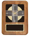 American Walnut Wall Clock with Black & Gold Crackle Face Employee Awards