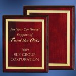 Piano Finish Wood Plaque with Brass Border Employee Awards